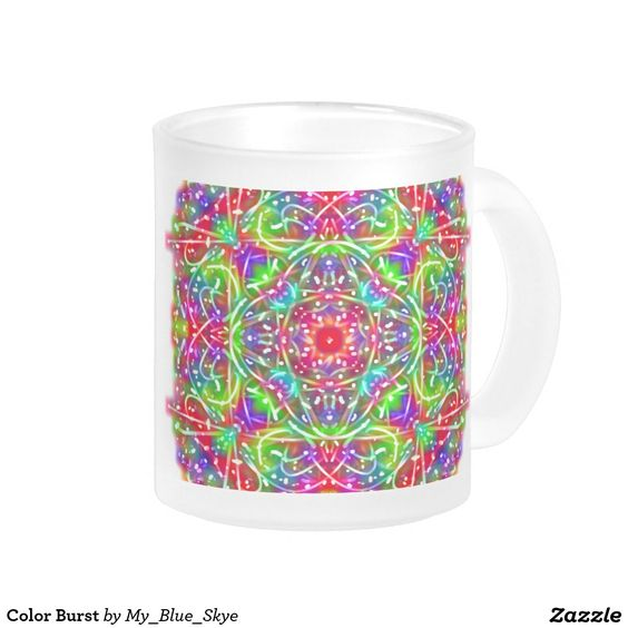Color burst 10 oz frosted glass coffee mug this unique for Cool glass coffee mugs