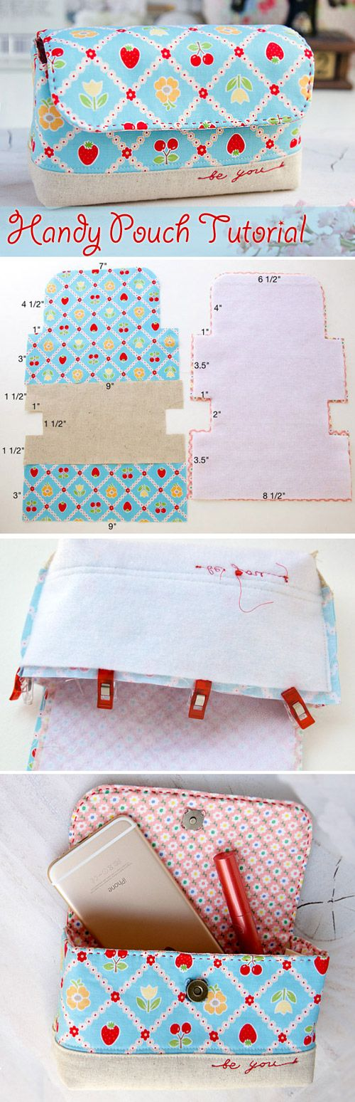 Handy Pouch Bag Tutorial.  All in one handy pouch. Tutorials with pictures. Шьем удобную сумочку. http://www.handmadiya.com/2015/09/handy-pouch-bag-tutorial.html: