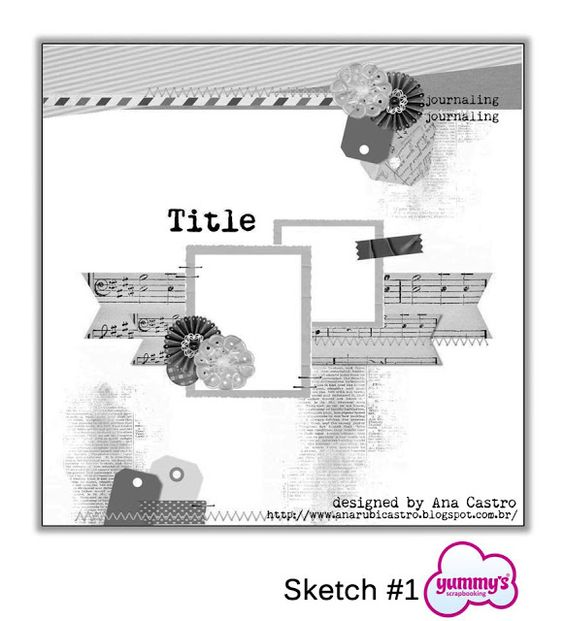 Lovely double photo LO sketch. #scrapbooking #scrapbook #templates #sketches: