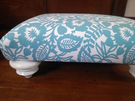 Handmade Upholstered Footstool 18x24x10high by HAWThome on Etsy