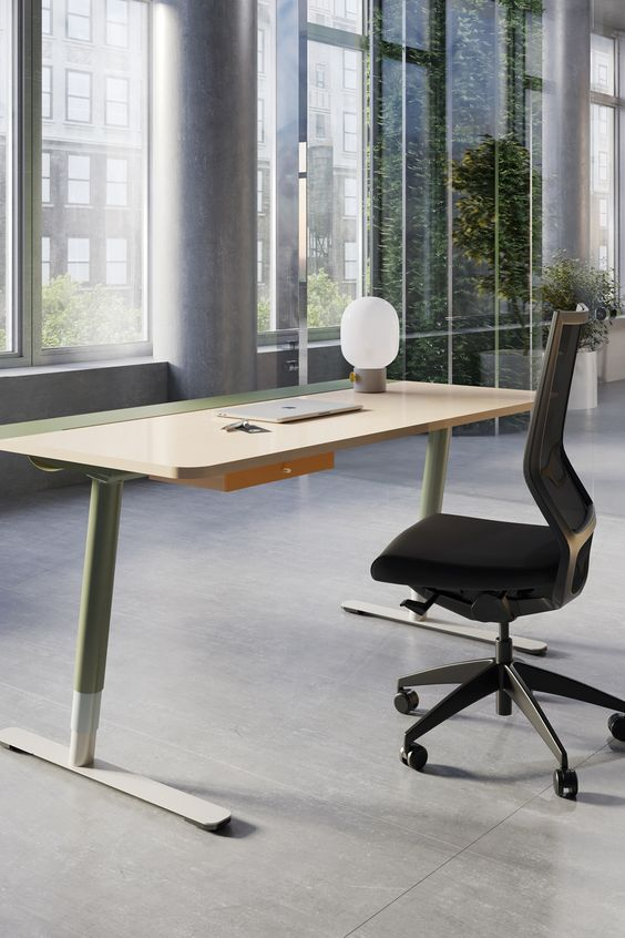 Sit Stand Desk In 2020 Sit Stand Desk Contemporary Desk Home