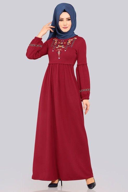 Modaselvim Elbise Nakisli Balon Kol Elbise 5456mp186 Bordo Elbise Elbiseler Kiyafet