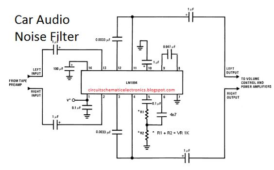 10a80f62786fe55e3e4ad5f2ac880902 electronic circuit audio the circuit filters noise in car audio is useful to filter out barjan radio noise filter wiring diagram at mifinder.co