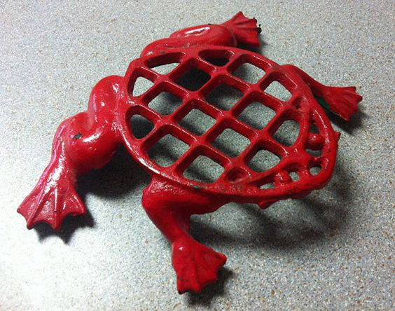 Vintage RED FROG TRIVET  Wrought Iron Hot Plate by MsPippenshmooze, $14.00