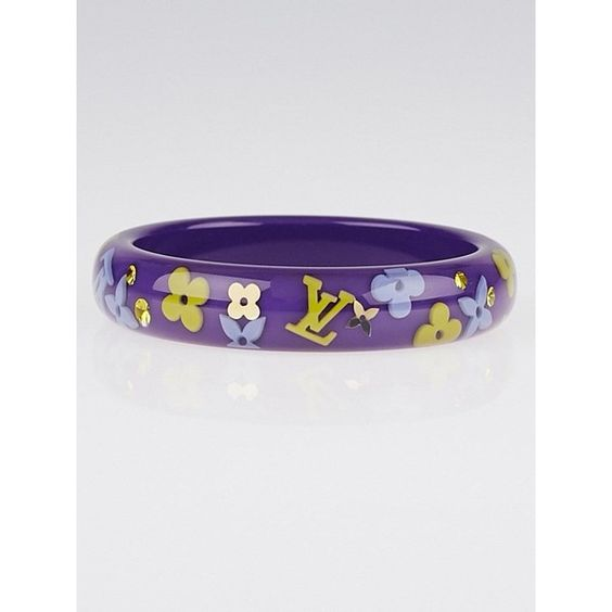 Pre-owned Louis Vuitton Purple Monogram Resin Inclusion Bracelet (£205) ❤ liked on Polyvore featuring jewelry, bracelets, swarovski crystal jewelry, resin bangle, resin jewelry, pre owned jewelry and monogram bangle