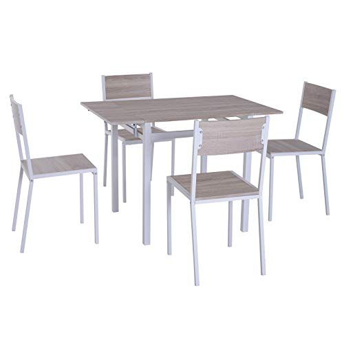 Homcom 5 Piece Drop Leaf Counter Height Dining Table And Chairs
