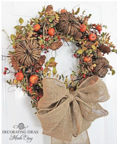 Grapevine Wreaths Decorated: Fall Pumpkin, Fall Decoration, Decorating Ideas, Wreath Idea