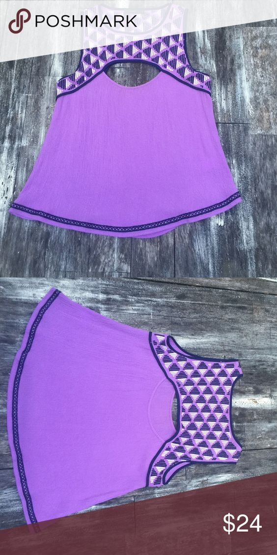 """THML cut out geometric embroidery top Cute gauzy, comfy top! Cut-out detail on front and back. Worn once! No stains or holes!  Front center of collar to bottom of shirt approx 21"""" THML Tops Blouses"""
