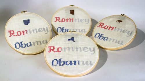 infographics! a series of cross-stitches depicting whom women voted for in the 2012 Presidential election, by state.