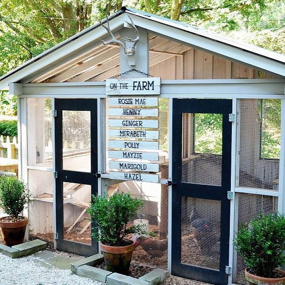 "We love how this family didn't stop at designing their own chicken coop--they added an ""on the farm"" sign listing the names of all its feathered residents too!  ( via @rygblog) #country #chicken #coops"
