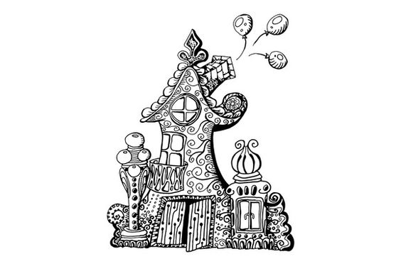#zenart #house #poster #zentangle #doodle#fairy Zentangle house poster! by ilonitta on Creative Market