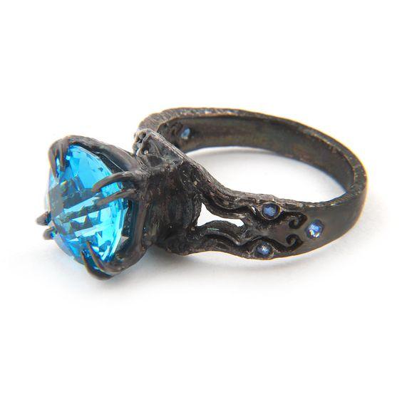 Kathula blue topaz and sapphire ring. $300.00, via Etsy.