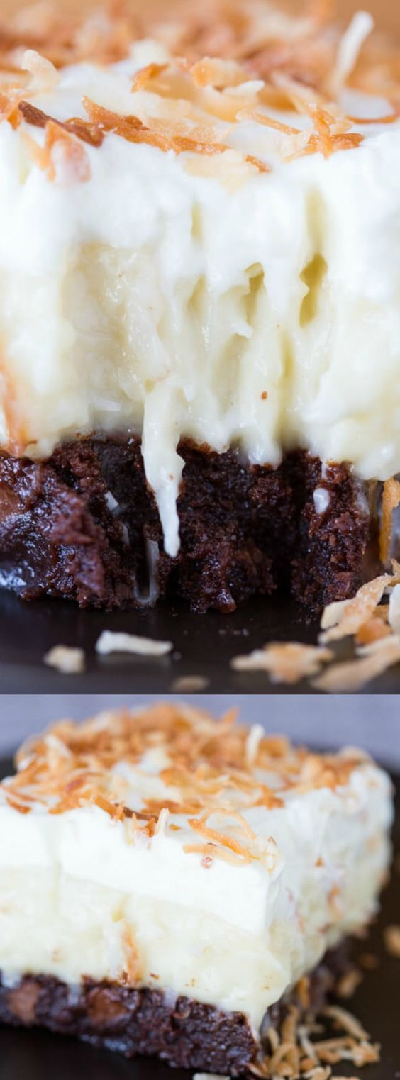 These Coconut Cream Brownies from Willow Bird Baking are an easy dessert recipe that coconut and chocolate lovers will go crazy for.