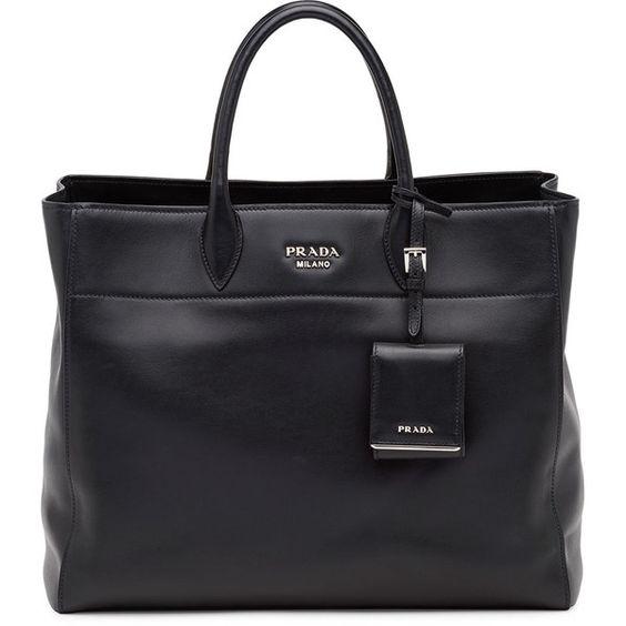prada mini flower bag - Prada City Calfskin Tote Bag with Studded Strap ($1,970) ? liked ...