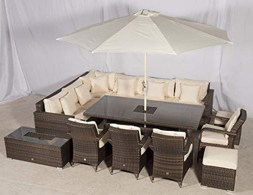 Giardino Havana 10 Seat Rattan Corner Sofa Dining Set W Drinks Coolers W 2 X 1m Rattan Dini In 2020 Rattan Corner Sofa Rattan Outdoor Furniture Rattan Furniture Set