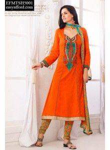 Jacquline Orange Printed Churidar Suit