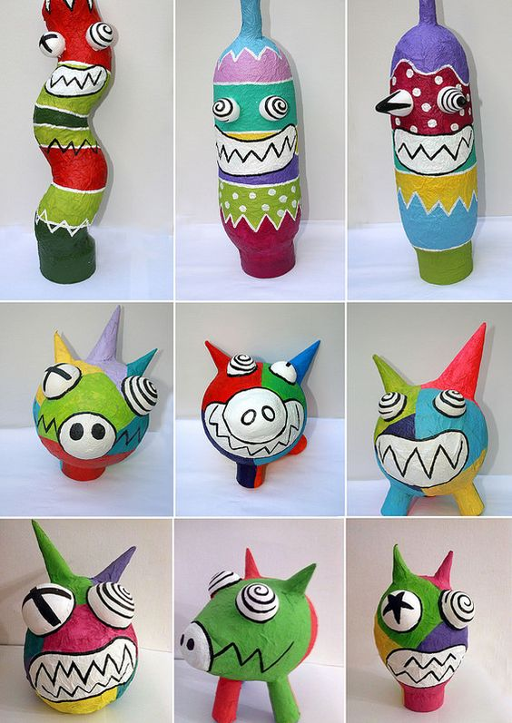 Paper mache monsters colorful art project for kids art for Paper mache activities