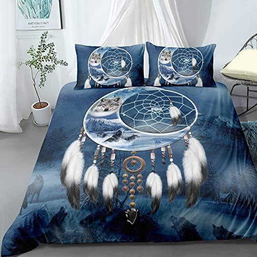 Zhh Teens Tribal Wolves Duvet Cover Full Midnight Mountains Dream Catcher Bedding Cover Set Beautiful White F Bedding Set Dream Catcher Bedding 3d Bedding Sets