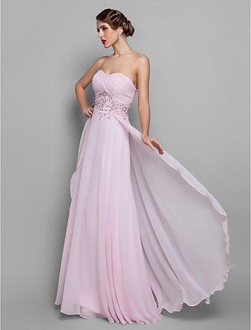 uma linha-namorada do assoalho-comprimento vestido de georgette noite - BRL R$ 341,97