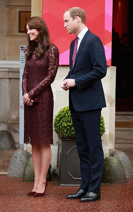 Princess Kate's dress co-ordinated perfectly with her husband Prince William's tie