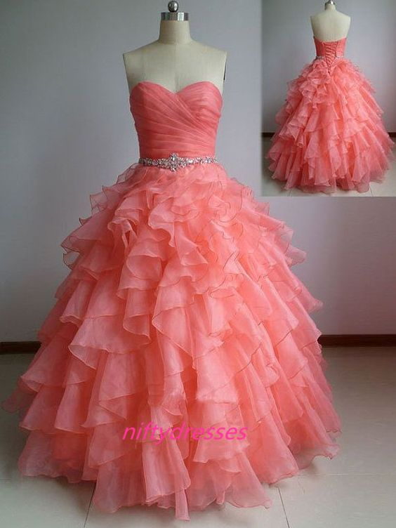 Customized Size Ball Gown,Coral Prom Dress,Sweetheart Organza Prom Dresses,Ruffles Puffy Formal Dress For Teens