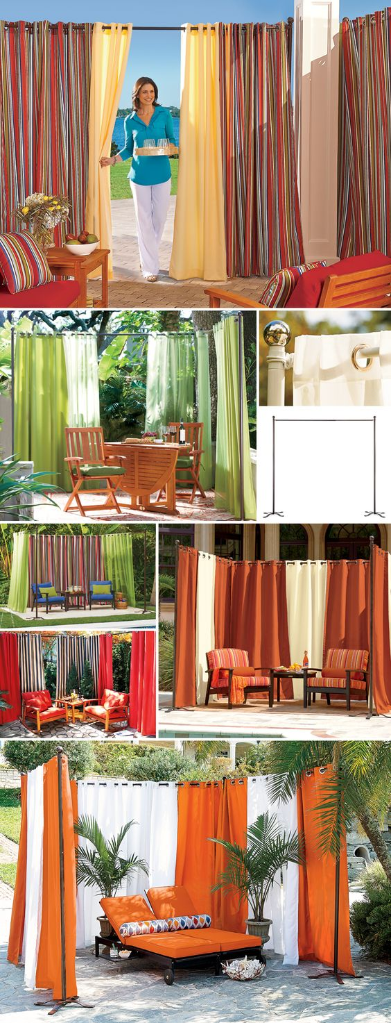 Create privacy just about anywhere with a freestanding curtain rod and outdoor curtains.