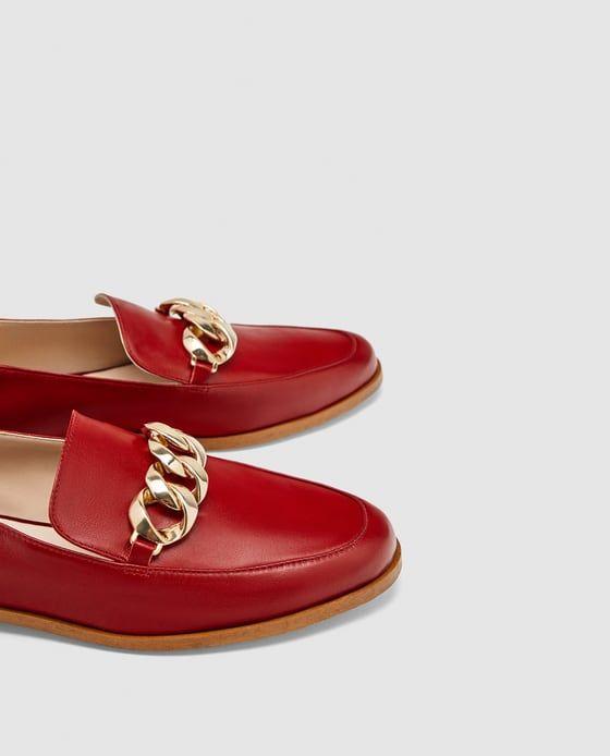 Zara Dan 4 Zincir Detayli Deri Makosen Resmi Leather Leather Loafers Loafers