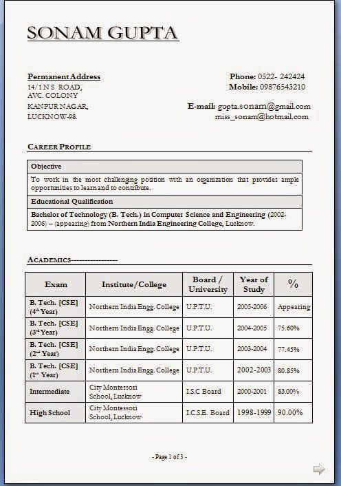 how to make resume free Sample Template Example of Excellent - indian resume format