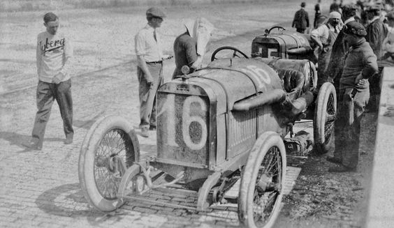 Jules Goux with his car at the Indy 500 in 1913.