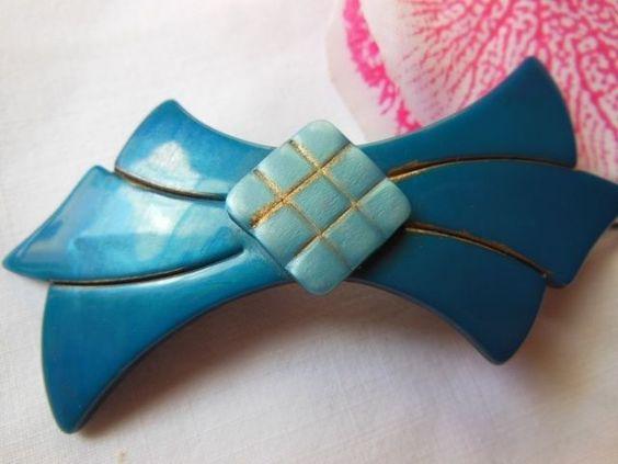 Ancienne Barrette À Cheveux Vintage Hairclip Bleu Doré Jamais Utilisée | eBay