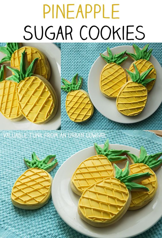 pineapple sugar cookies *so cute. nom. nom. nom.: