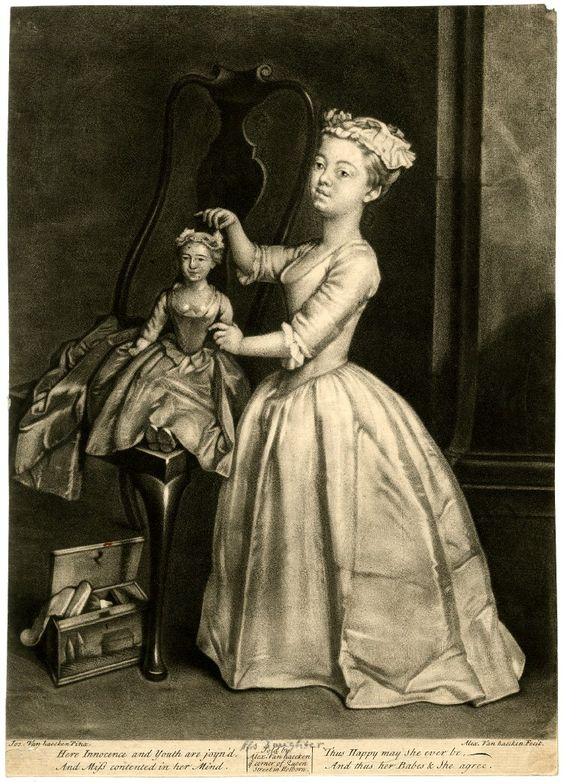 c. 1730s The artist's daughter playing with a doll, which has been placed sitting in a high-backed armchair, with a toy box on the floor below; after Joseph van Haecken. Mezzotint