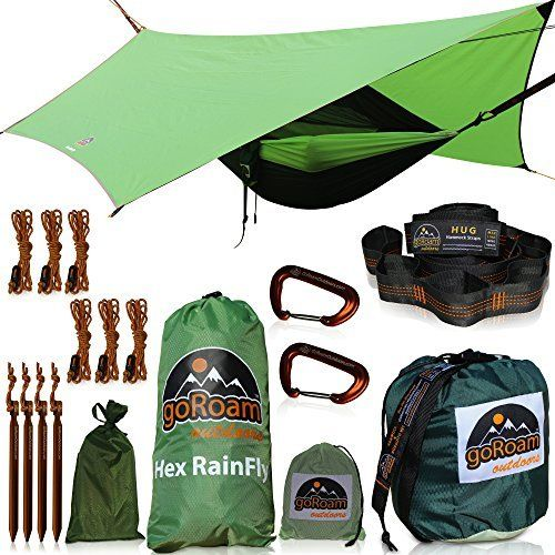 Goroam Outdoors Camping Hammock With Mosquito Net And Rainfly Hex Rain Fly Waterproof Camping Tarp Tent Sh Camping Tarp Hammock Camping Hammock Camping Gear