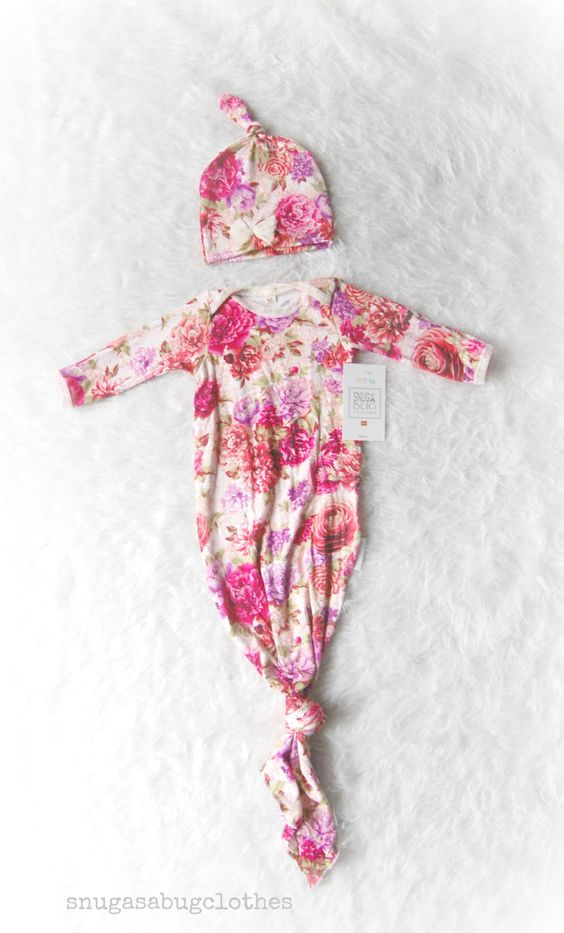 Vintage+Floral+Tie+Baby+Girl+Gown+with+by+SnugAsaBugClothes,+$48.00