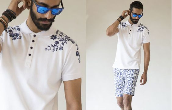 GENES - Lecoanet Hemant  SS 16, Menswear Polo Tee with floral print. Cool look for summer