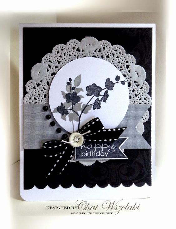 Me, My Stamps and I: Black and White - Stamps: World of Dreams Paper: Basic Black, Whisper White, DSP Ink: Memento Black Accessories: striped ribbon, button, pearls Tools: dimensionals, circle punch