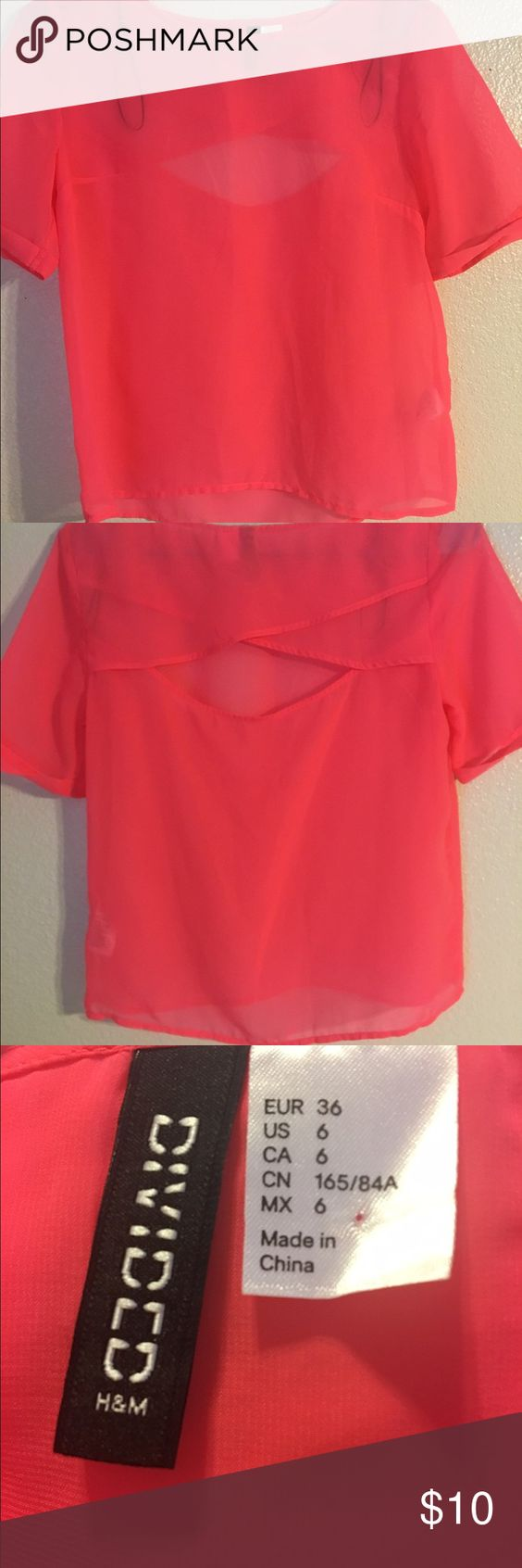 Loose pink shirt Open back shirt. Very cute and very loose. Worn once with no stains. H&M Tops Blouses