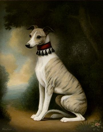 Seated Whippet in Landscape Dog Oil Painting by Christine Merrill: