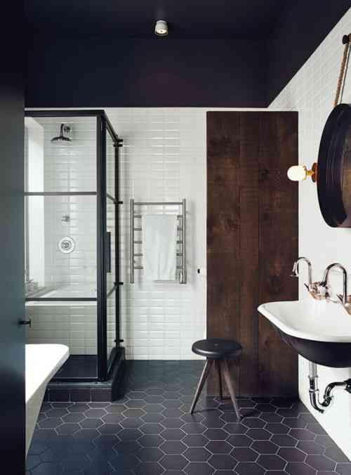 Carrelage Hexagonal Noir Pour Sol De Salle De Bain Avec Carreaux