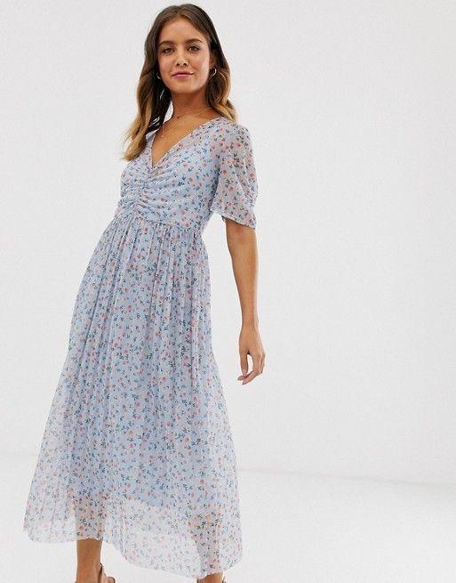Asos Design Ditsy Print Midi Mesh Tea Dress With Pleated Skirt Tea Dress High Fashion Street Style Dresses