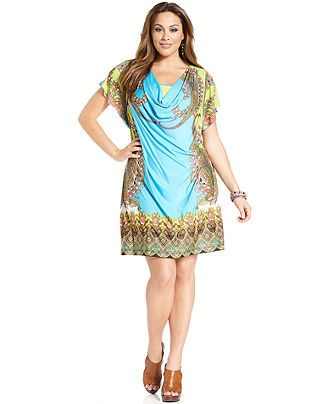 one world plus size dress, short-sleeve printed cowl-neck - plus