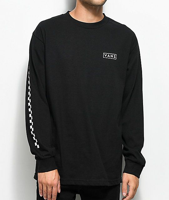 Vans Checkmate Black & White Long Sleeve T Shirt | Vans t