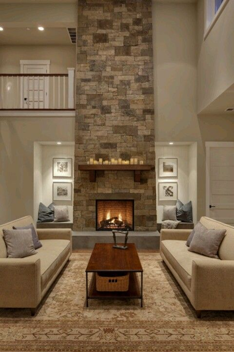 Floor To Ceiling Stone Veneer Fireplace Mantle Transitional