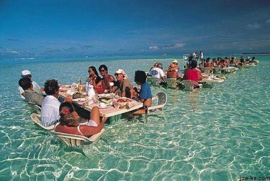 Water dining, Bora Bora. oh it's casual, just eating lunch in the water.