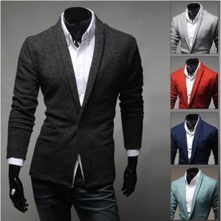 WIZIKOREA - Shawl-Collar Colored Cardigan