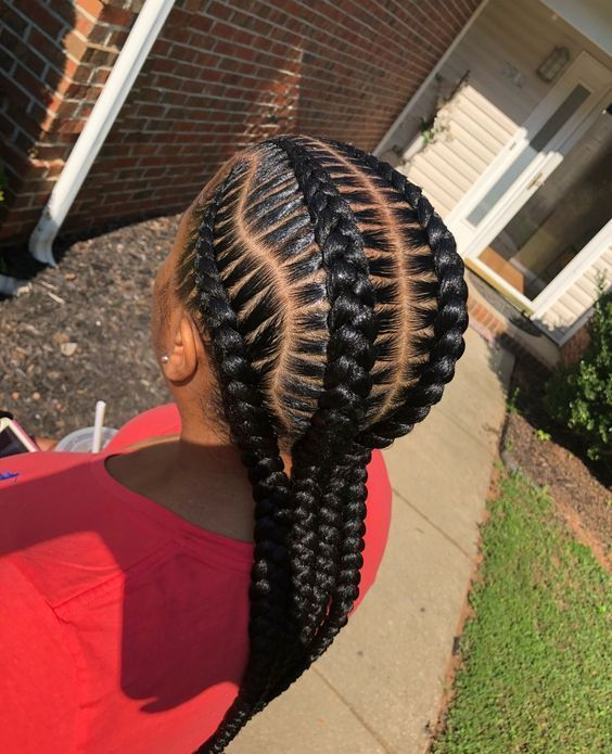 Stitch Braids With Curved Parts Braided Hairstyles Hair Styles Braids For Black Hair