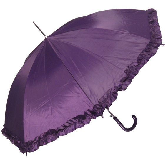Amazon.com: RainStoppers Women's Open Parasol Umbrella with Ruffle, Purple, 48-Inch: Clothing $14,95