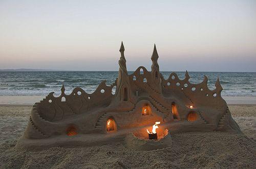 Illuminated Sand Castle, Santa Cruz, California  photo via ironwulf