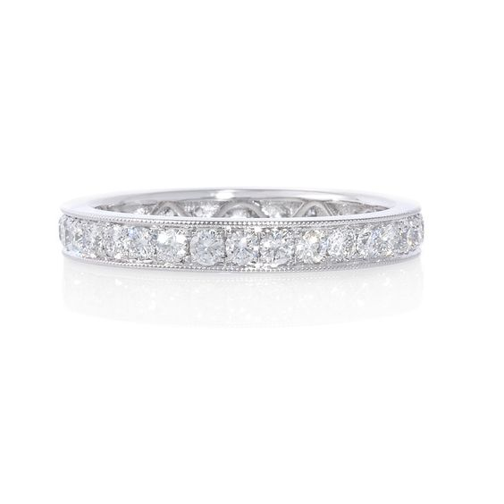 82ct Diamond Antique Style Platinum Eternity Wedding Band