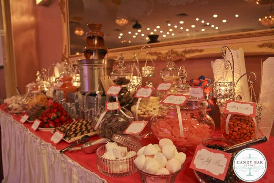 Pink and Chocolate Wedding Candy Buffet